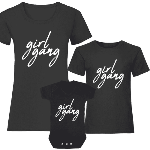 Girl Gang Women & Kids Matching Tee/Bodysuits - Black (MRK X)