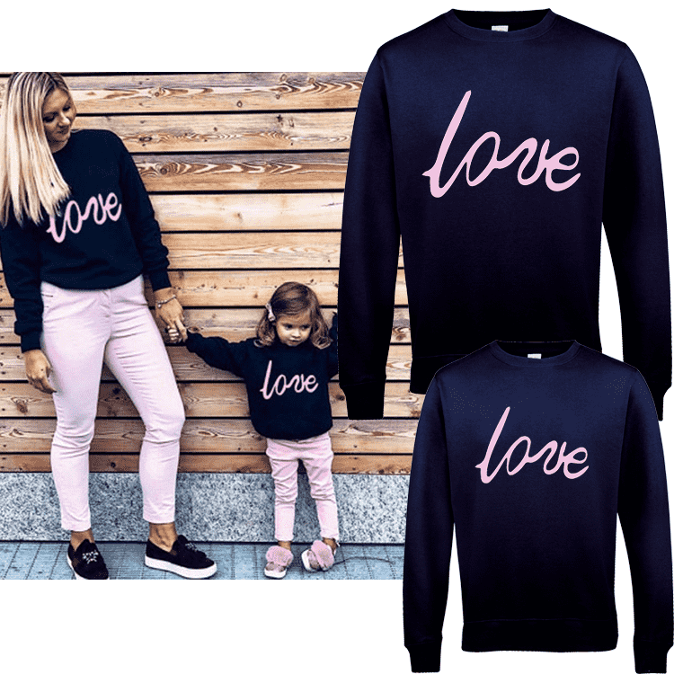 Oxford LOVE Navy/Pink Family Matching Sweaters (MRK X)