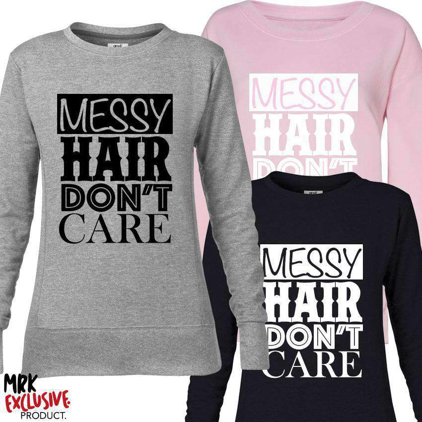 Messy Hair Don't Care Adult Multi Sweaters (MRK X)