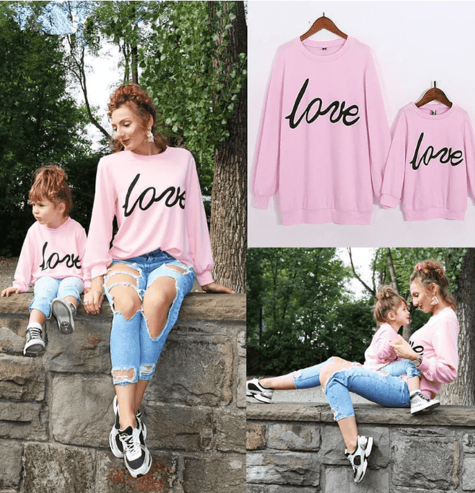 Oxford LOVE Pink/Black Family Matching Sweaters (MRK X)