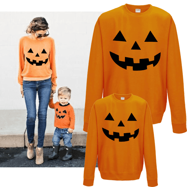 Halloween Pumpkin Family Matching Sweaters - Orange (MRK X)