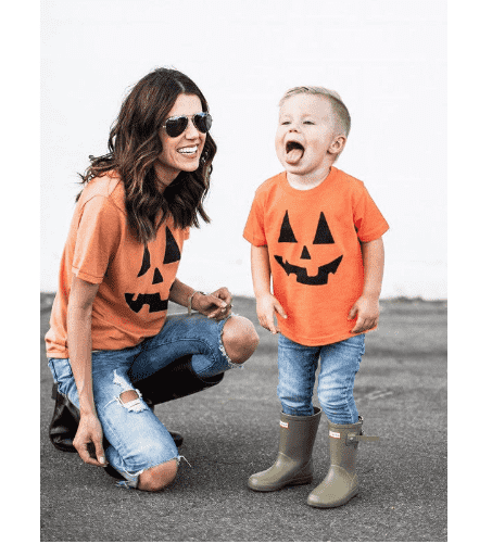Pumpkin Face Family Matching Tee's - Orange - (MRK X)