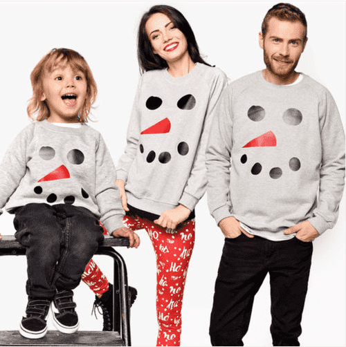 Snowman Face Family Matching Crew Sweats - Grey (MRK X)