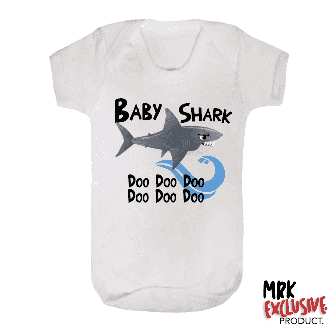 Shark Family - Baby Shark Bodysuit - White/Black (MRK X)