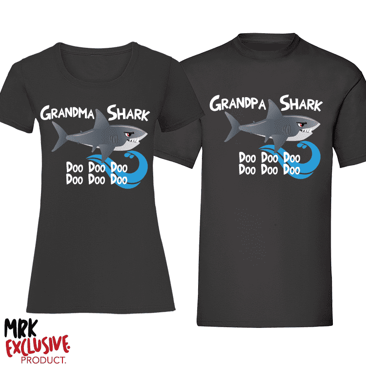 Grandma and Grandpa Shark Matching T-Shirts - Black (MRK X)