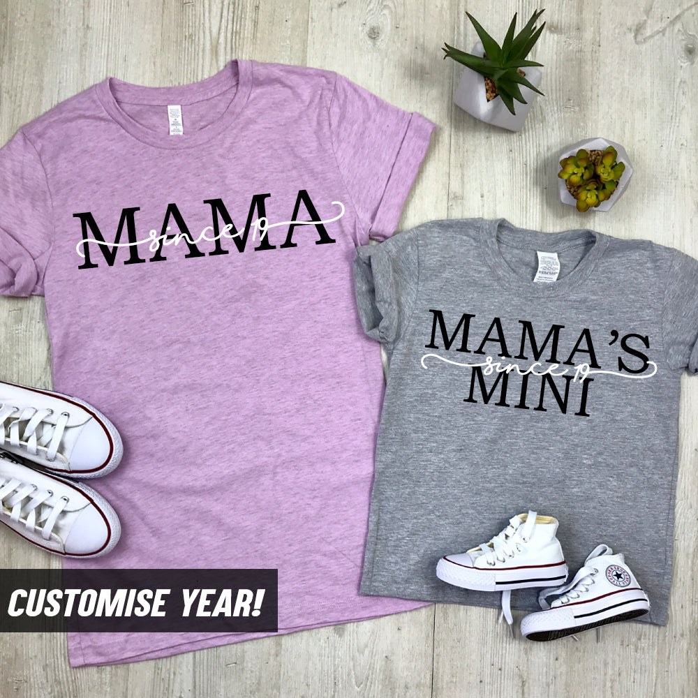 Personalised Mama & Mini Duel Script Matching T-Shirts (MRK X)