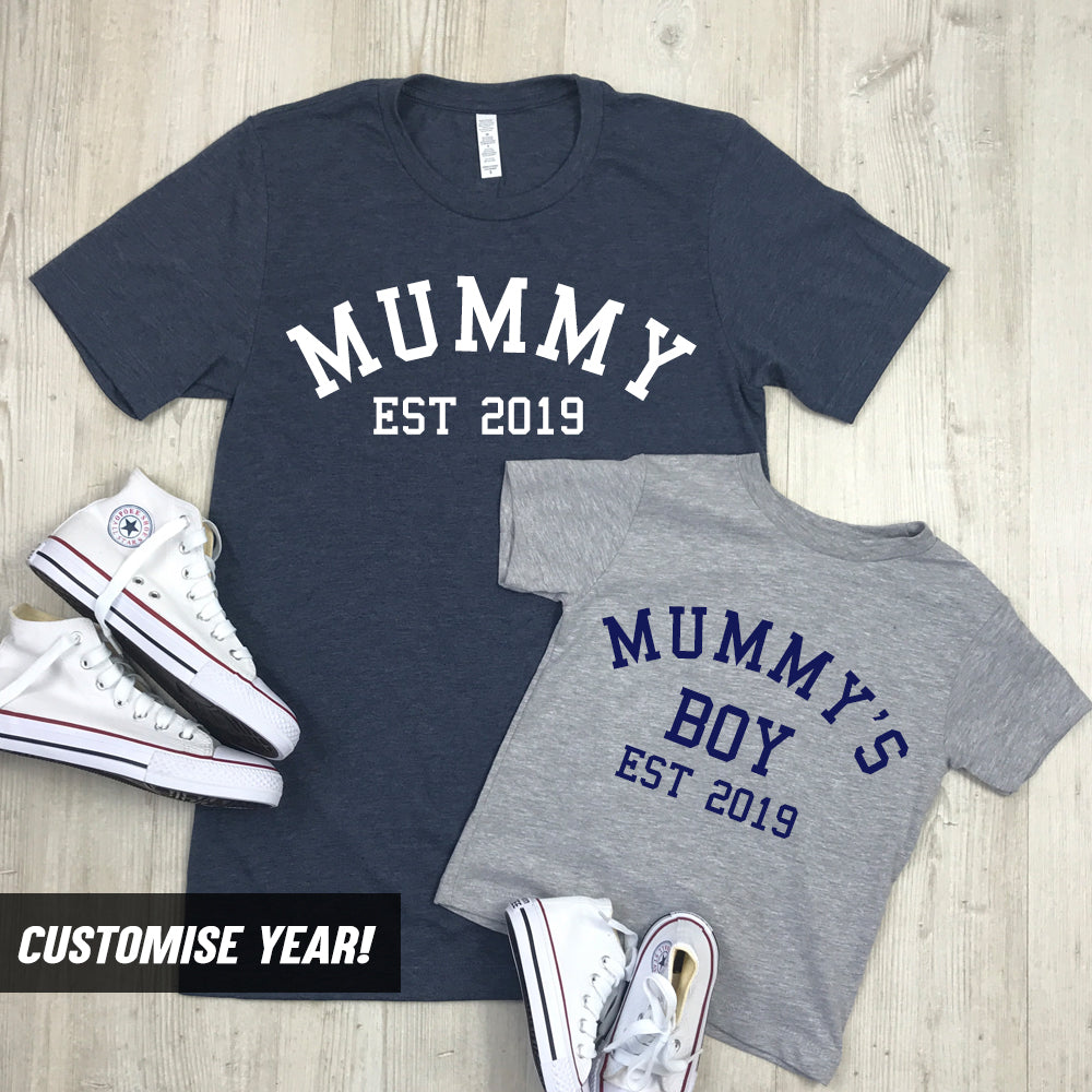 Personalised Mummy & Son Varsity Established Matching T-Shirts (MRK X)
