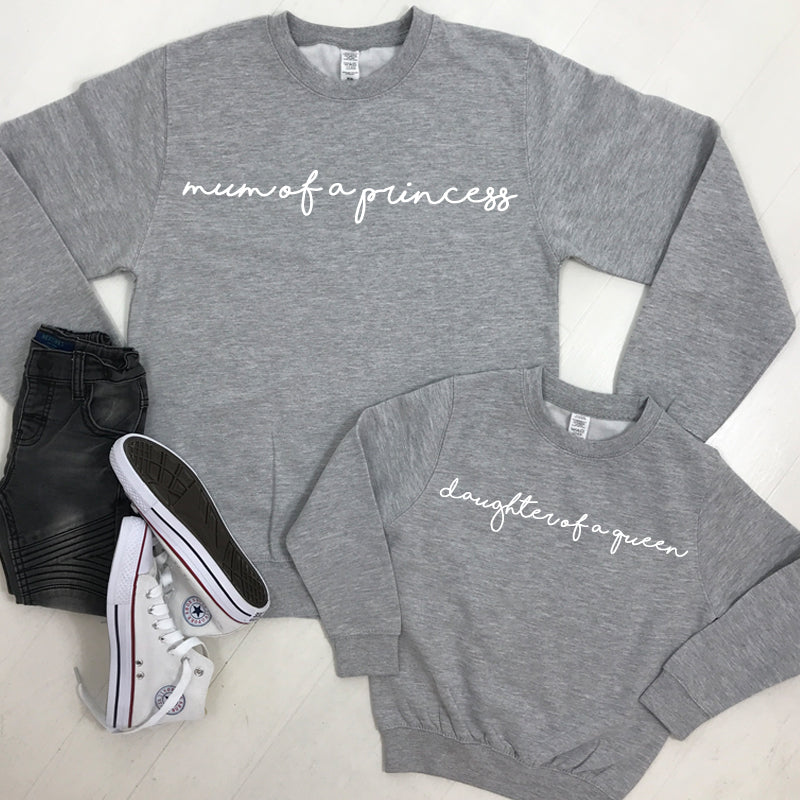 Mum Of A Princess/Daughter Of A Queen Heather Grey Sweatshirts (MRK X)