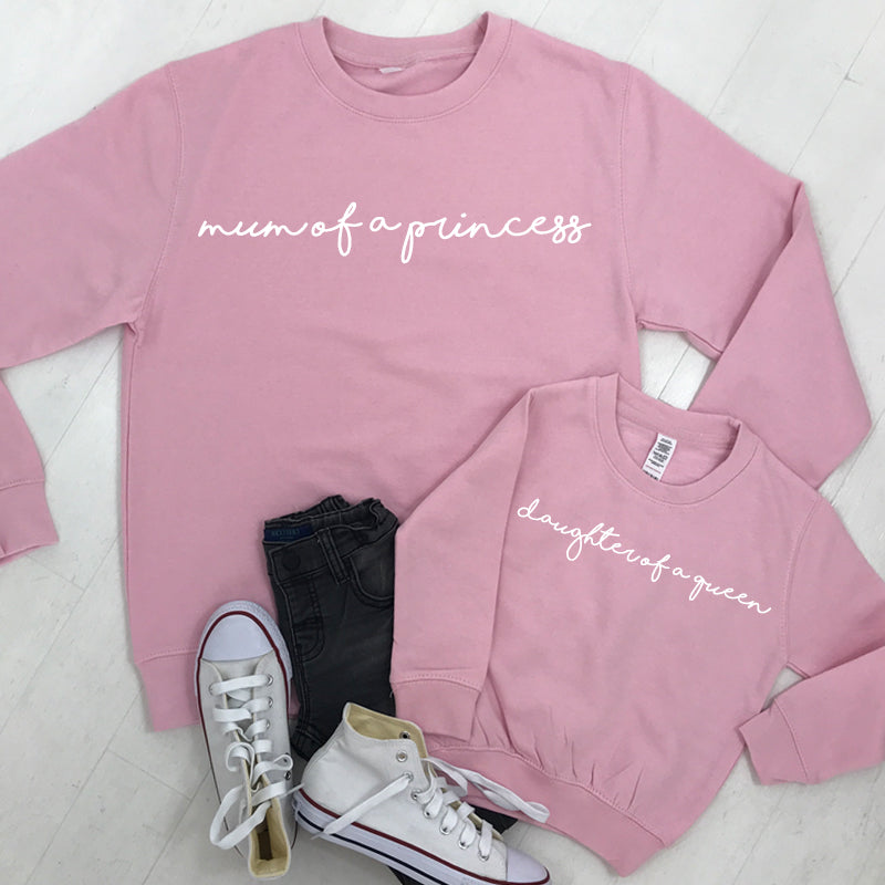 Mum Of A Princess/Daughter Of A Queen Light Pink Sweatshirts (MRK X)