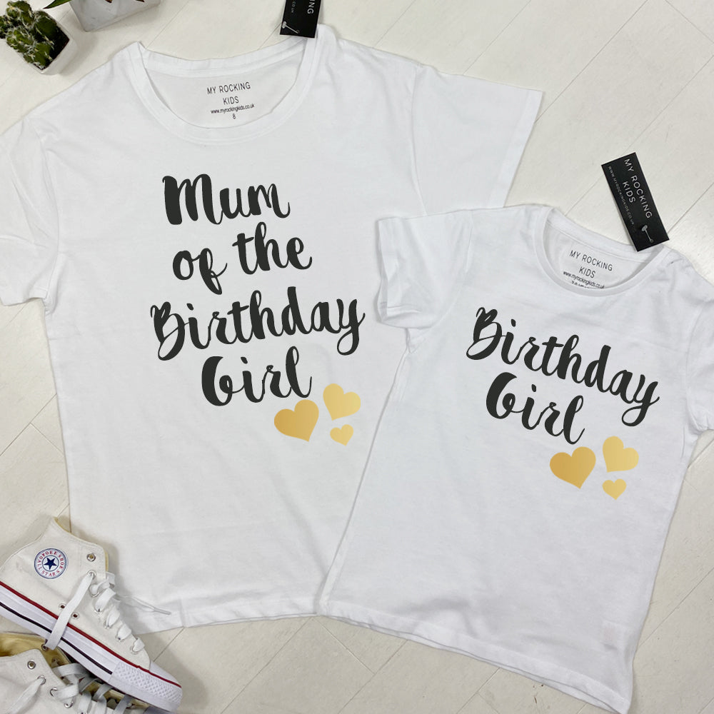 Birthday Girl Matching Mum & Daughter White Tees (MRK X)