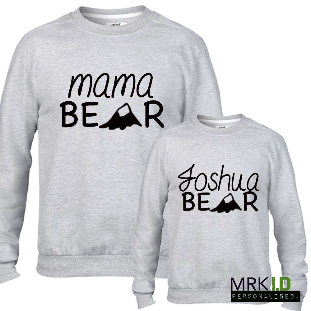 Personalised Women & Kid Matching Bear Family Light Grey Sweaters (MRK X)