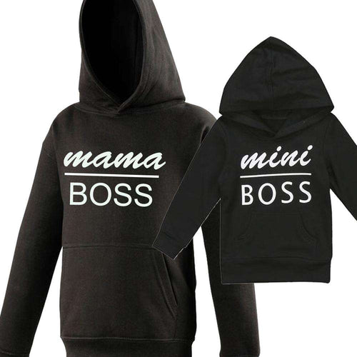 Mama & Mini Boss Mum Matching Black Hoodies (MRK X)