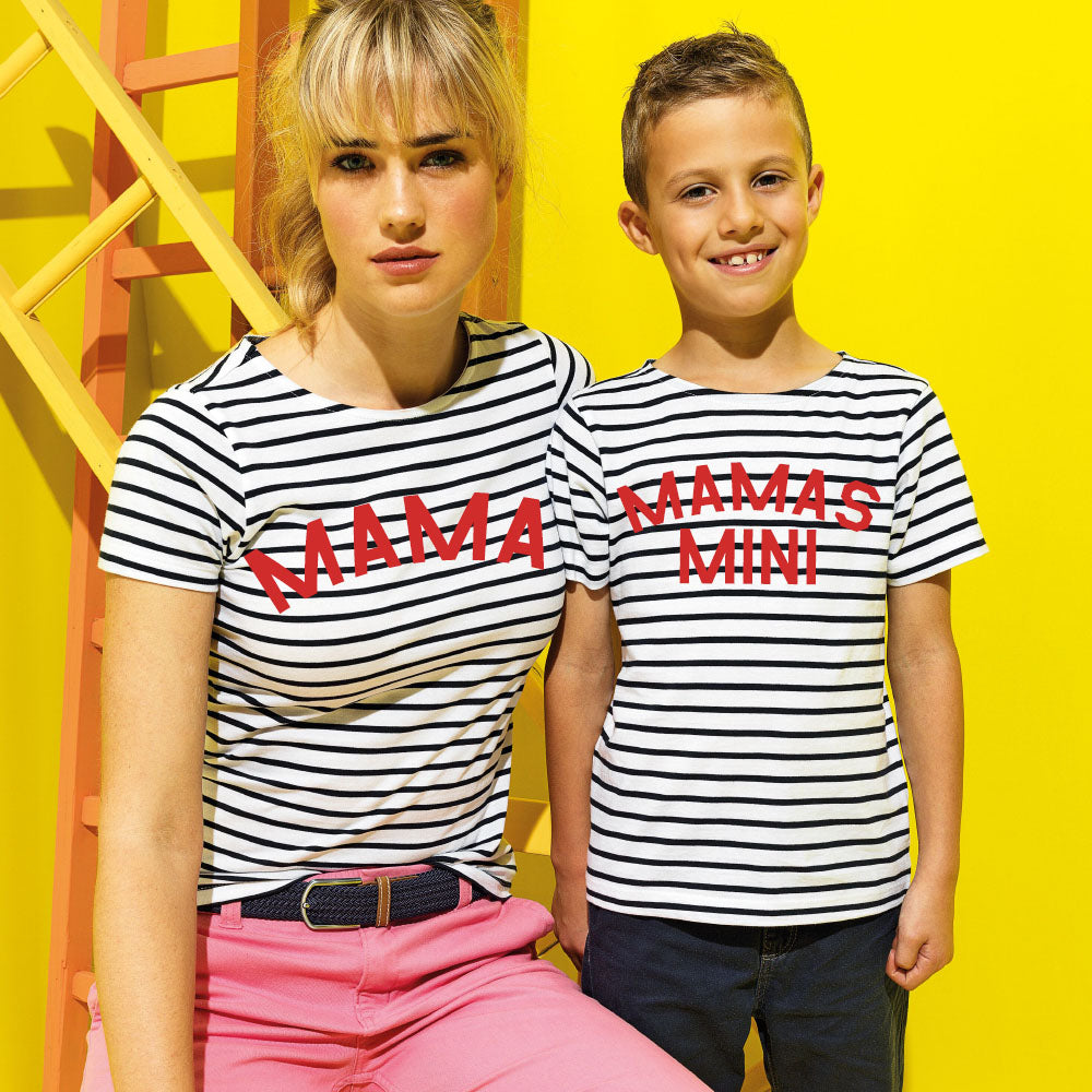 Coastal Striped Mum & Kid Matching White Tee's (MRK X)