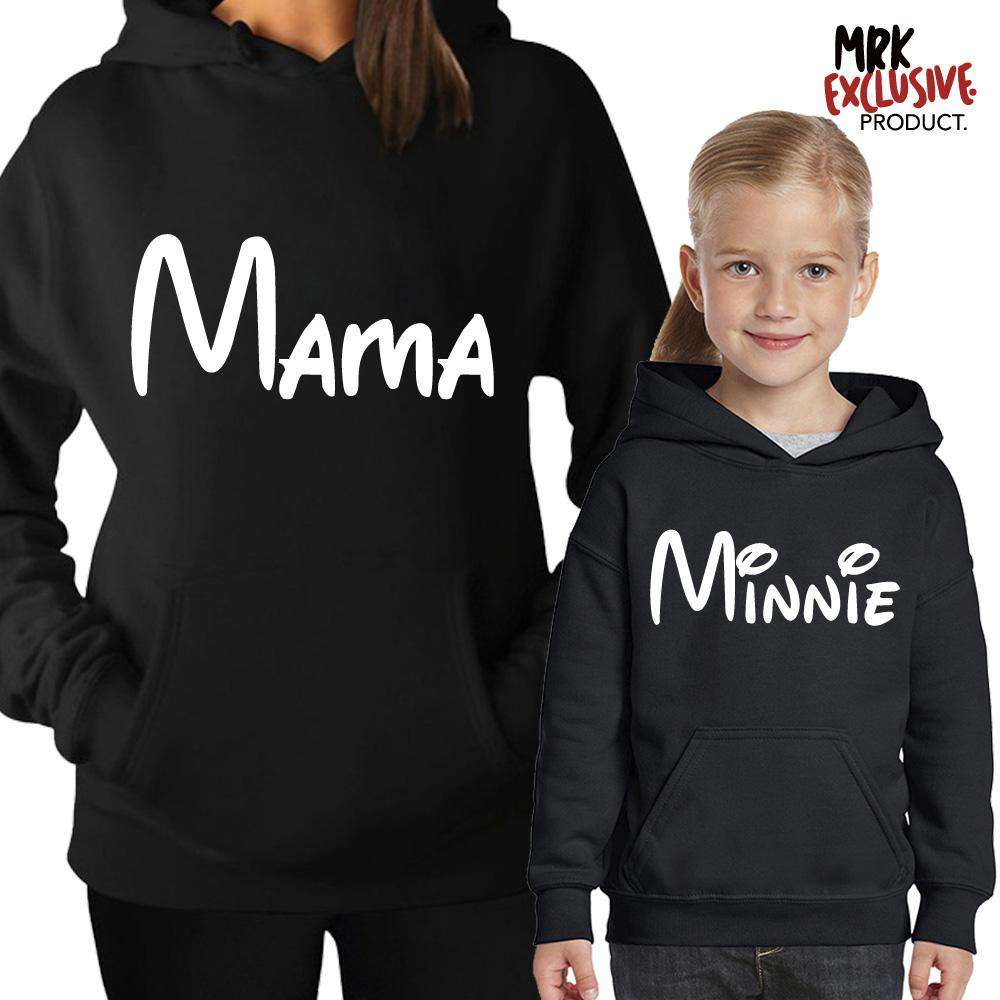 Mama & Minnie Script Matching Black Hoodies (MRK X)