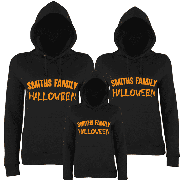 Personalised Family Matching Halloween Hoodies - Black (MRK X)