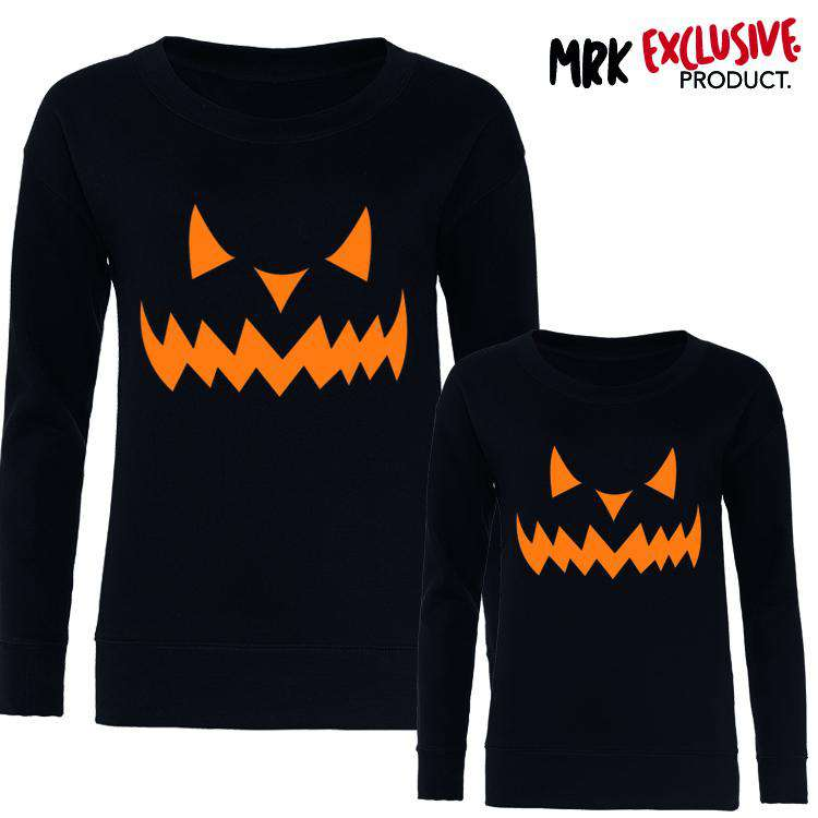 Halloween Pumpkin Family Matching Sweaters - Black (MRK X)