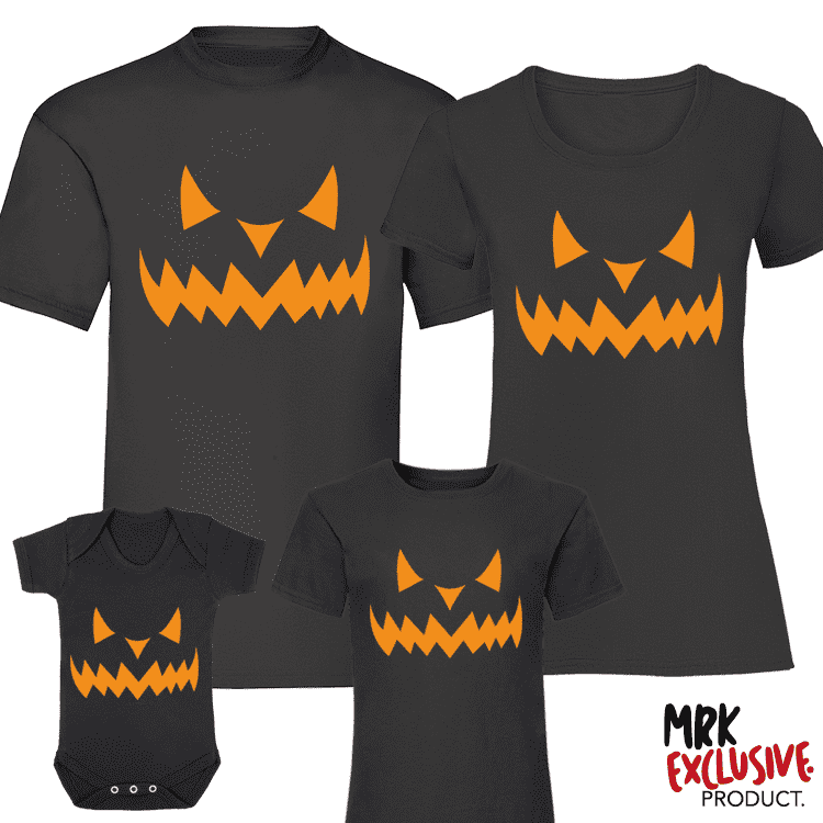 Halloween Pumpkin Family Matching Tee's - Black (MRK X)