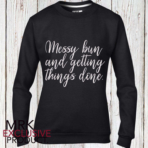 Messy Bun Adult Black Crew Sweat (MRK X)