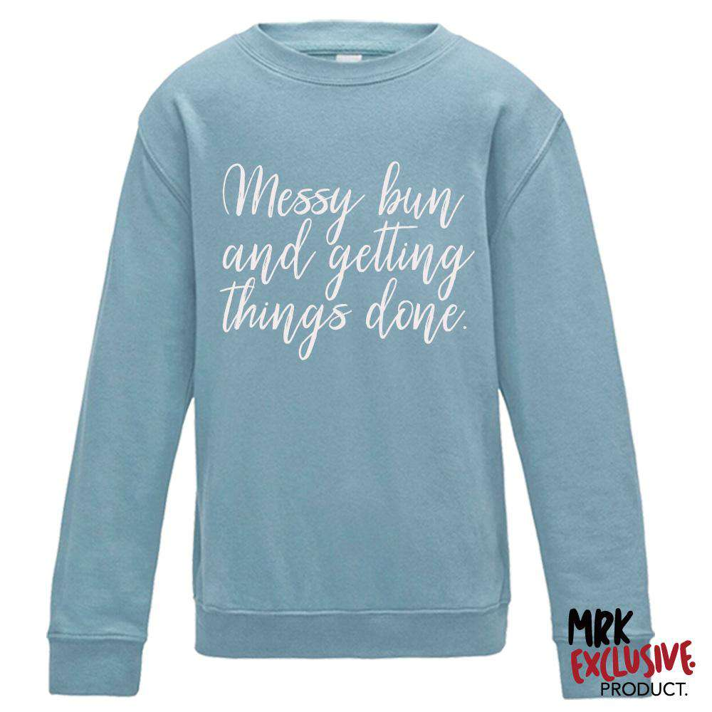 Messy Bun Adult Sky Blue Crew Sweat (MRK X)