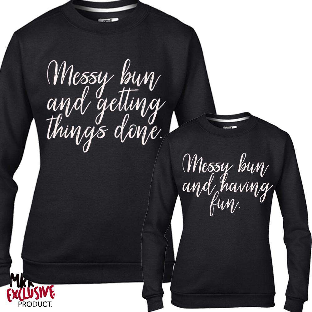 Messy Buns Women & Kid Black Matching Sweatshirts (MRK X)