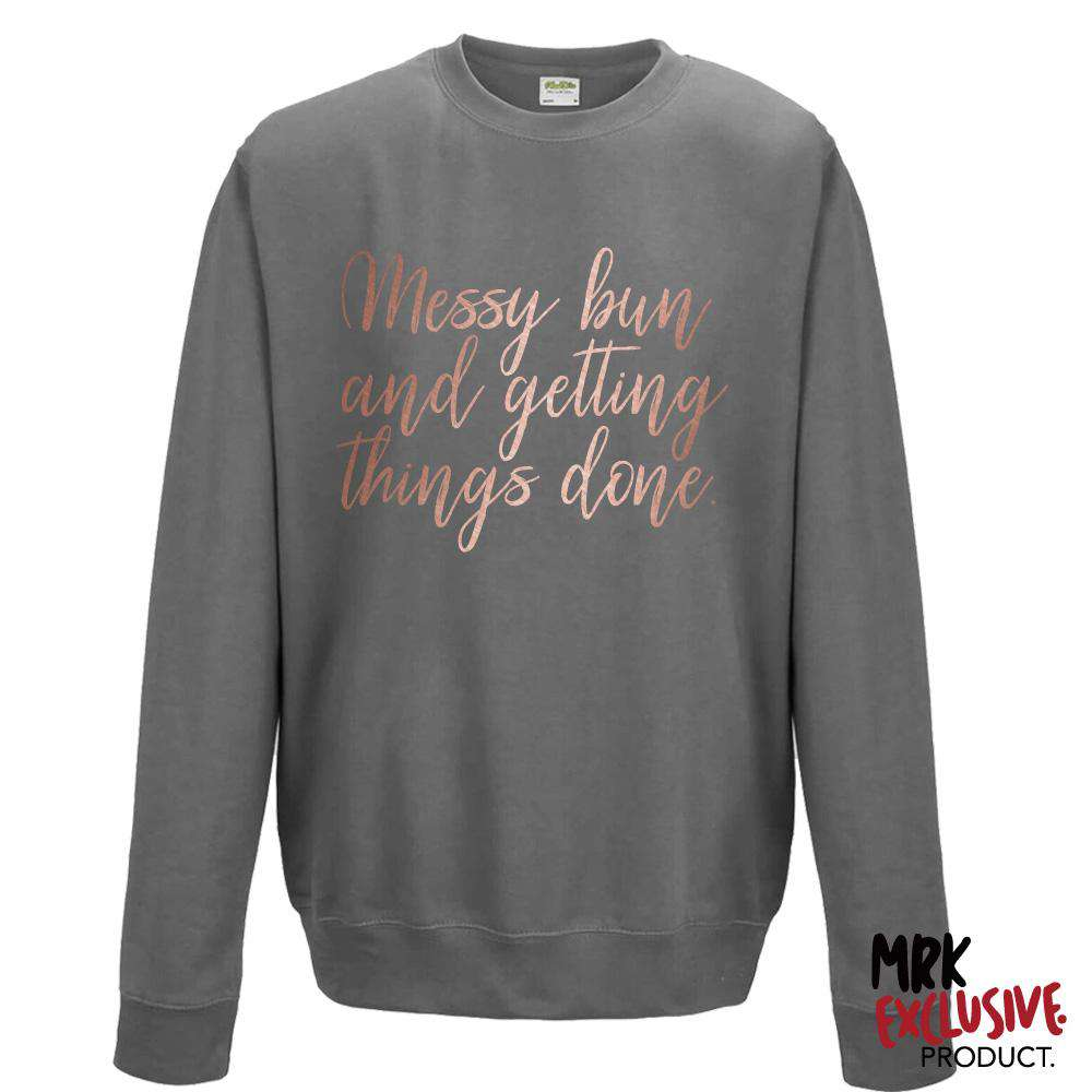 Messy Bun Womens Steel Grey/Rose Gold Crew Sweat (MRK X)