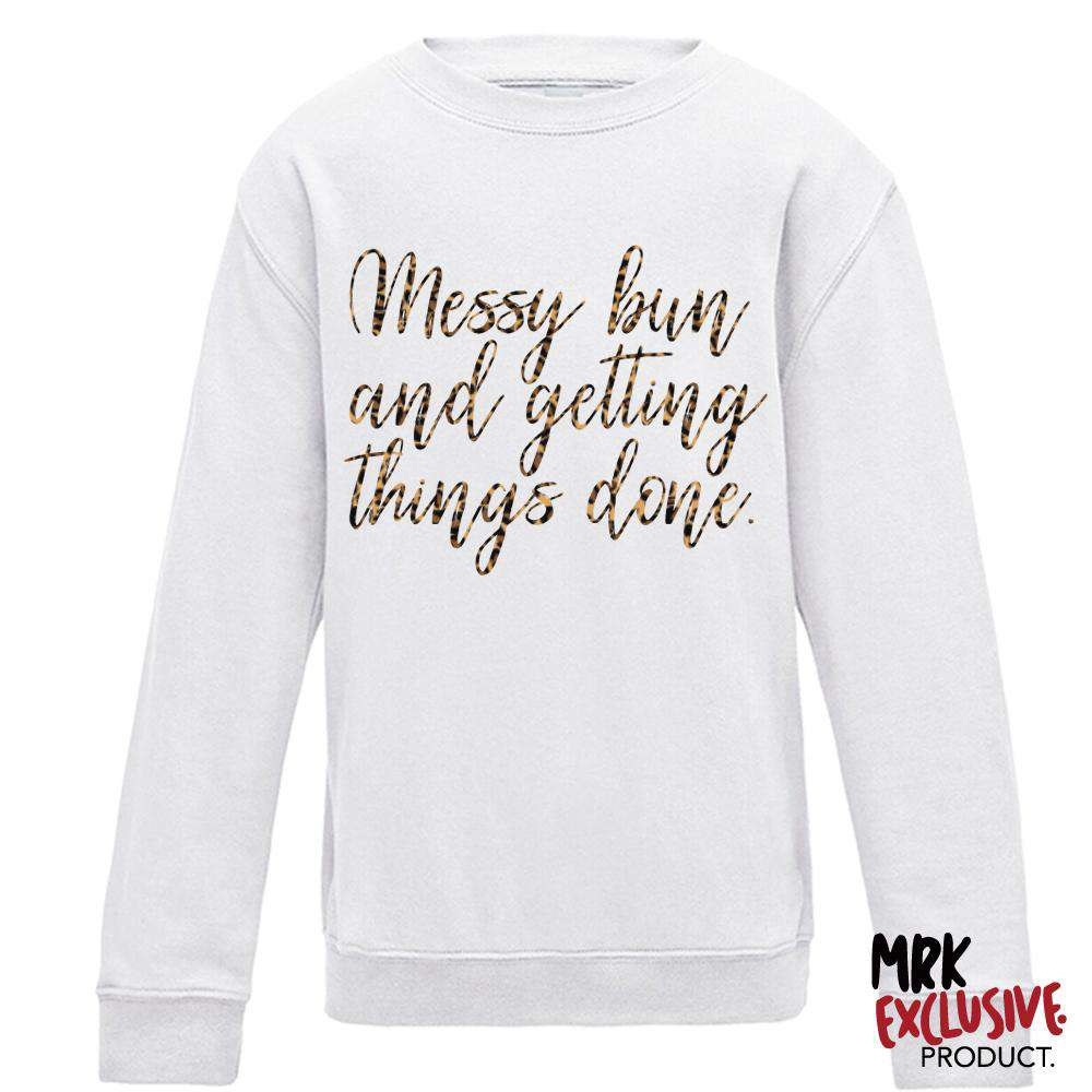 Messy Bun Adult White/Leopard Crew Sweat (MRK X)