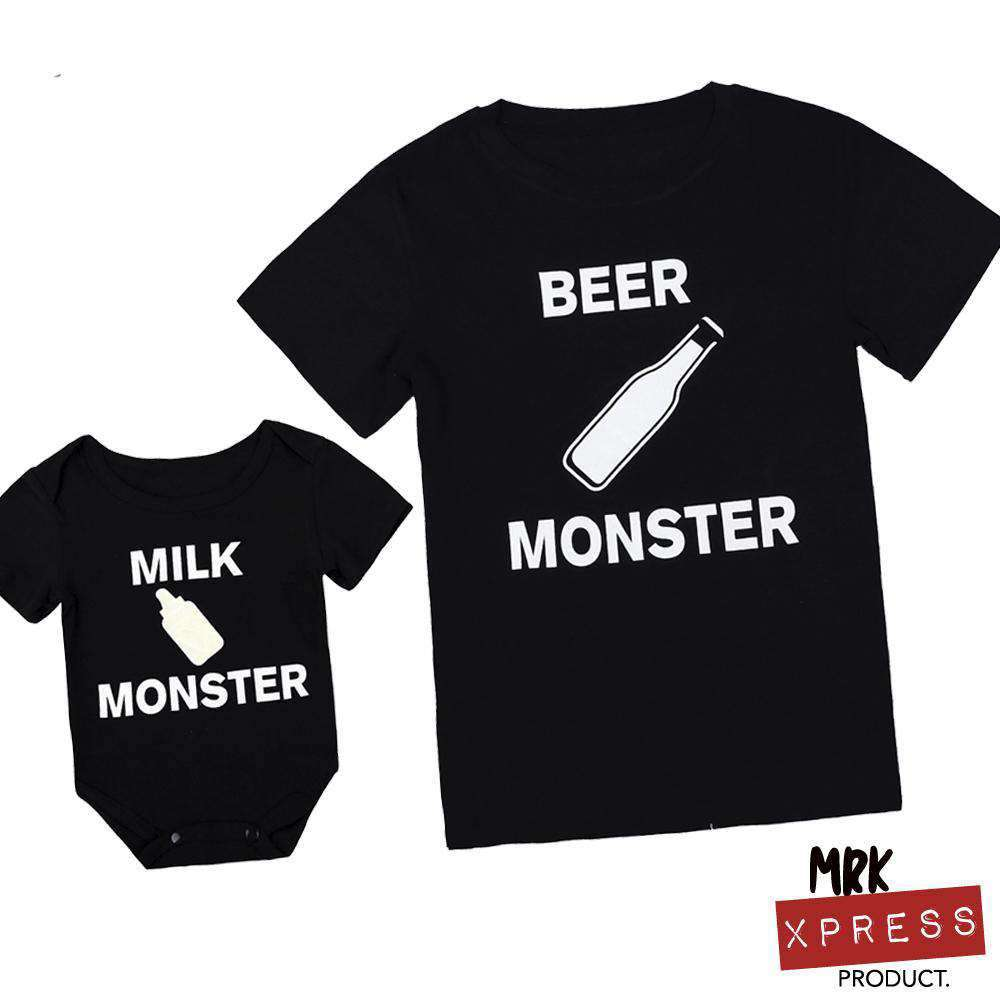 Beer Monster/Milk Monster Matching Dad & Baby Black Tees (MRK X)