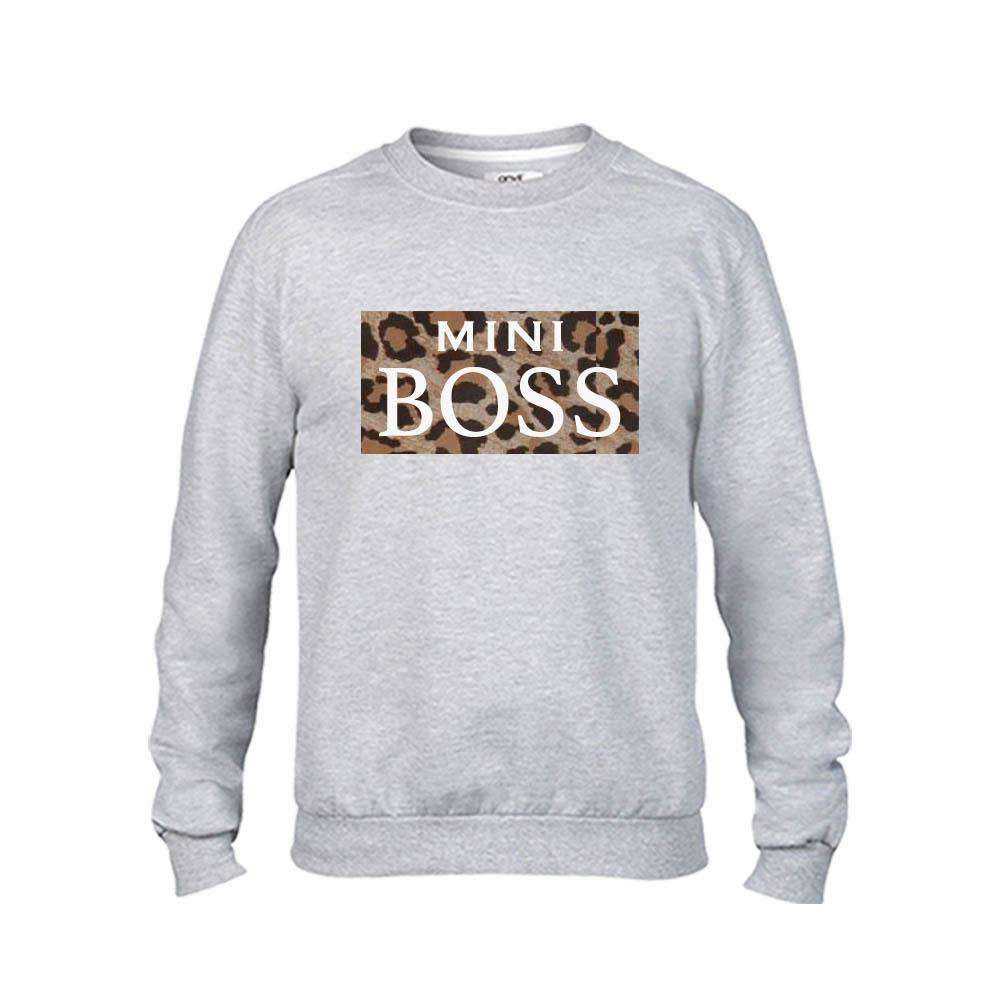 Mummy & Mini Boss Leopard Slogan Grey Sweaters (MRK X)