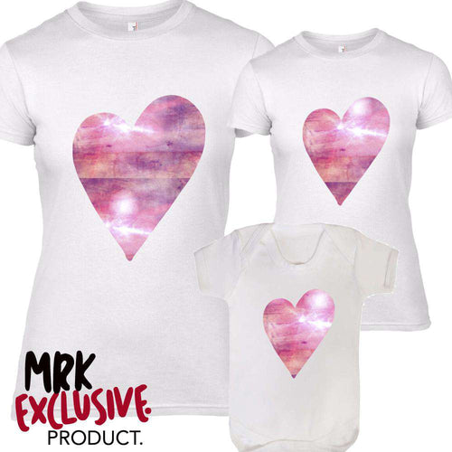 Mum/Kid Matching Pink Sparkle Heart Tee/Rompers (MRK X)