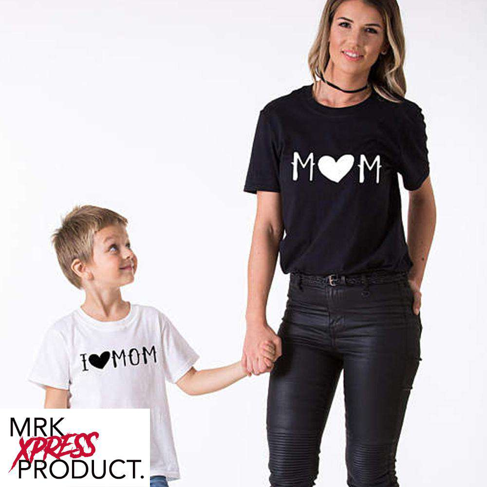 Mummy/Heart Mummy Black & White Matching Tees (MRK X)