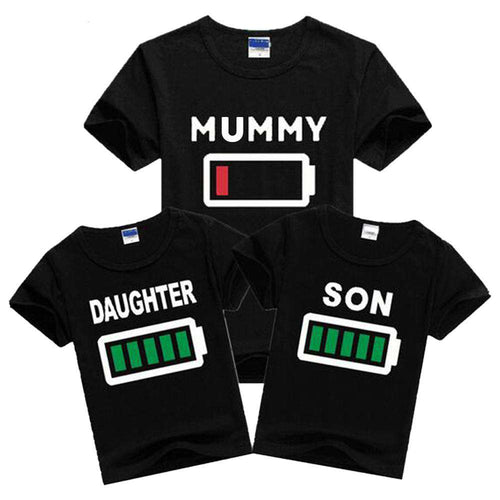 Family Matching Battery Tees - Black - (MRK X)