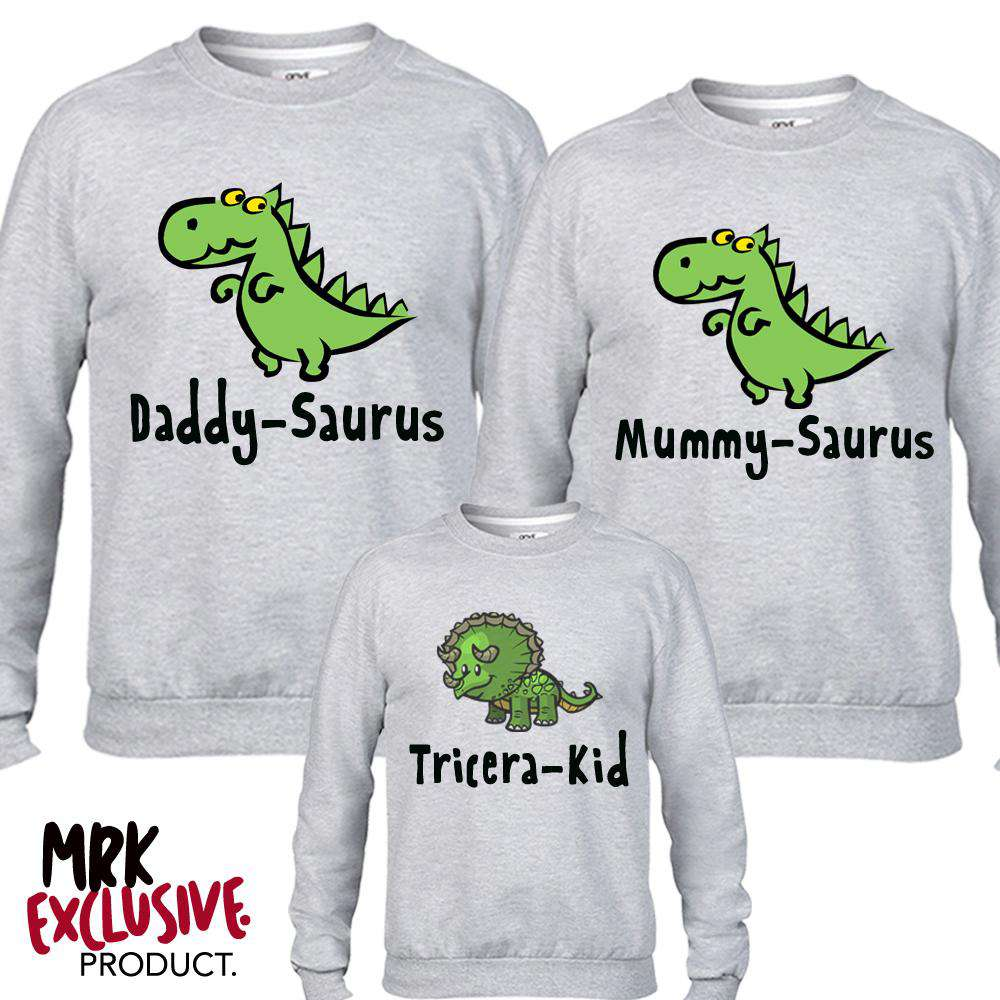 Dino Family Adult & Kid Matching Grey Sweaters (MRK X)
