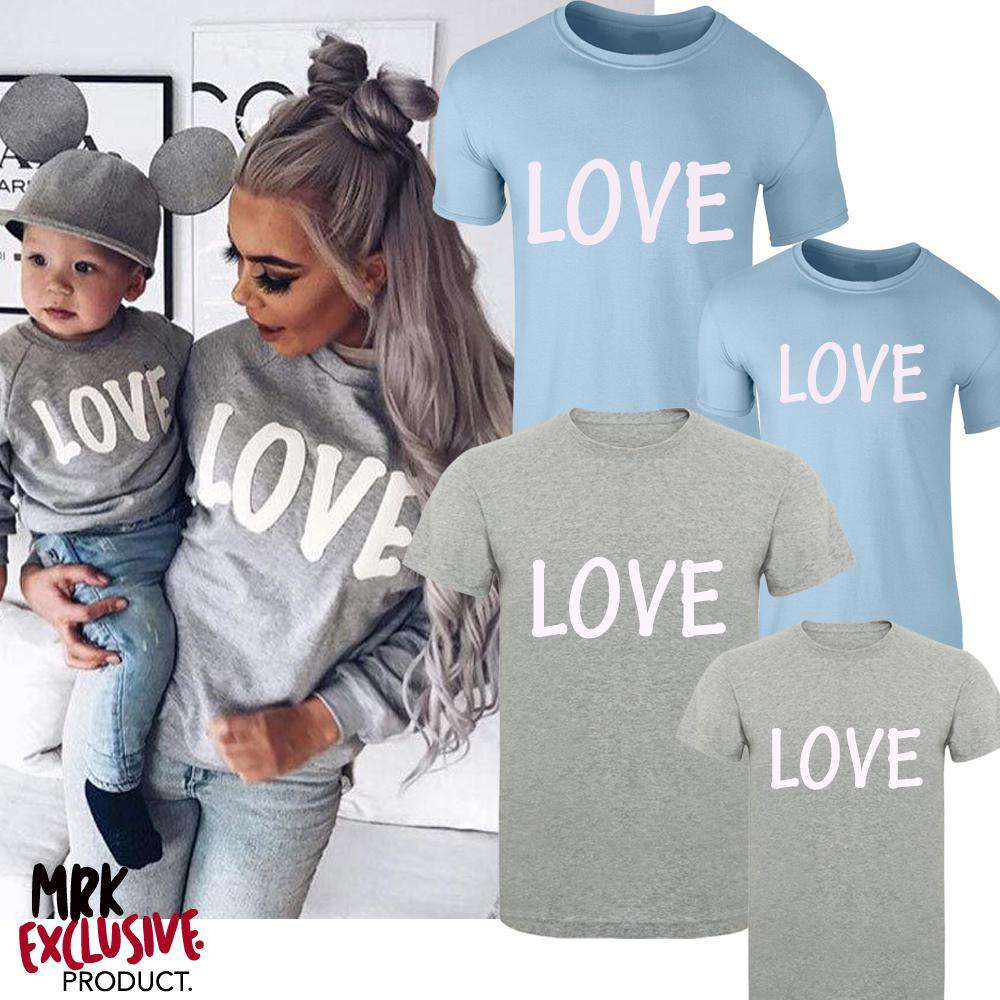 Matching Adult & Kids LOVE Slogan Tees (MRK X)