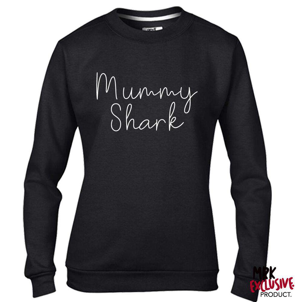 Mummy Shark New Script Slogan Black Sweater (MRK X)
