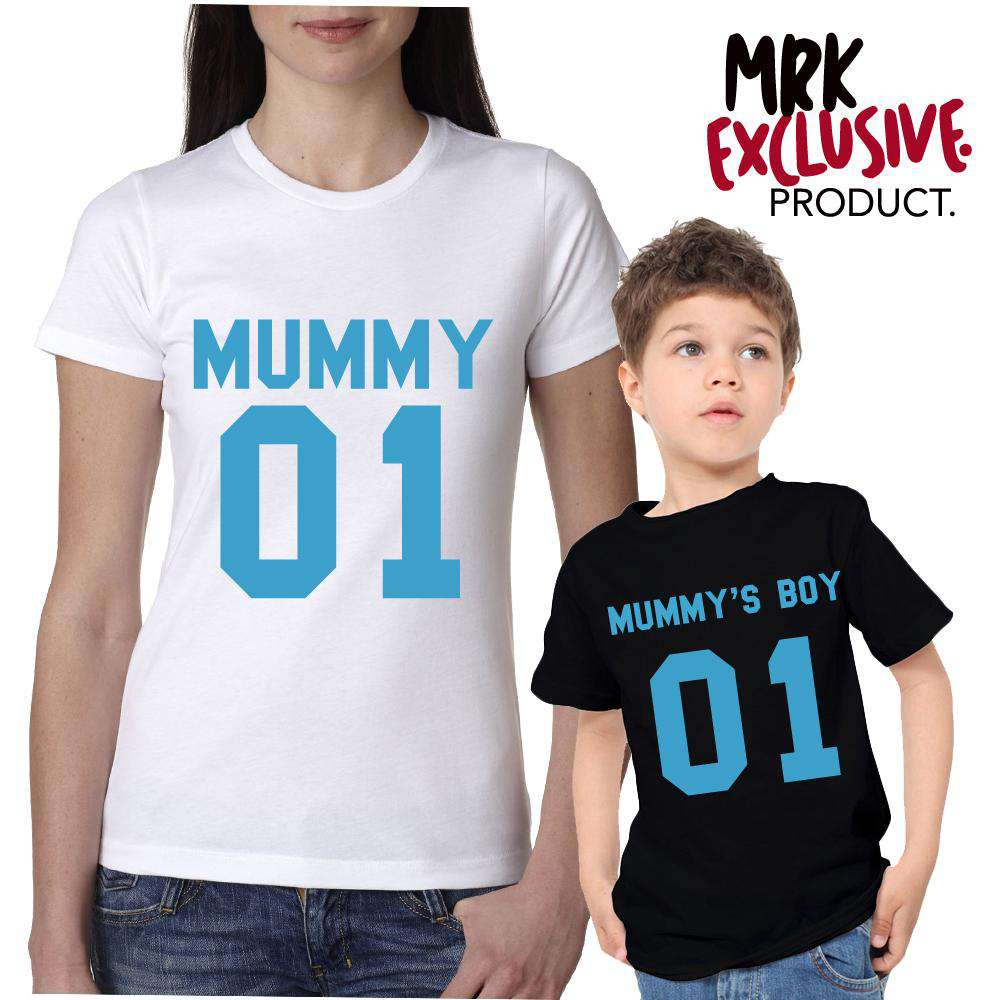 Mummy/Mummy's Boy White/Aqua Blue Matching Tees (MRK X)