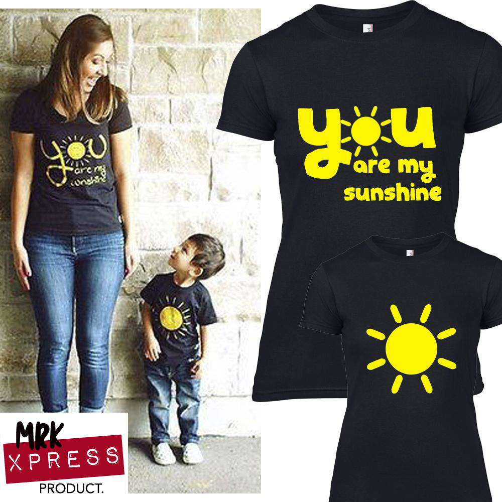 You Are My Sunshine Mum & Kid Matching Black Tees (MRK X)