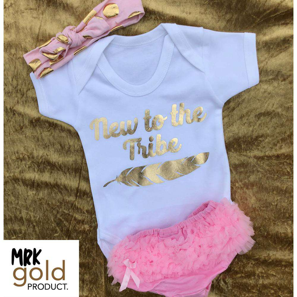 New To The Tribe White Bodysuit, Ruffle Short & Headband Set (0-24 Months) (MRK X)