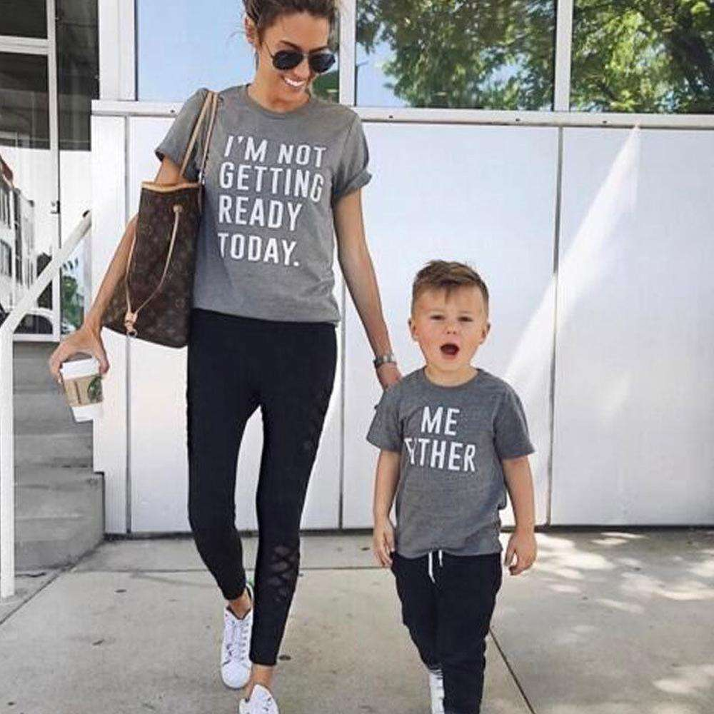 Not Getting Ready Mum & Kid Matching Grey Tees (MRK X)