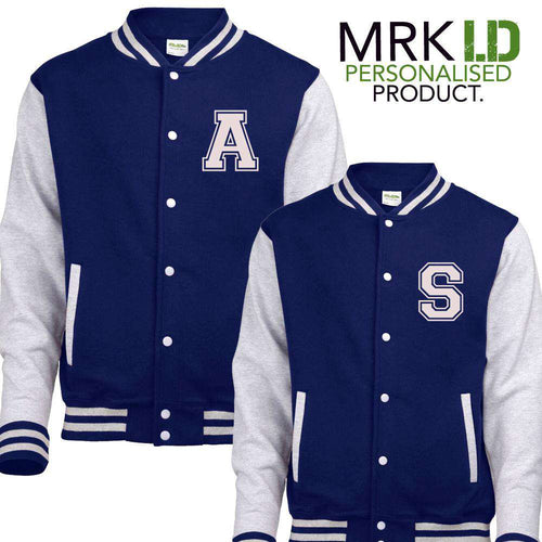 Personalised Initial Adult/Kid Matching Navy Baseball Jackets (MRK X)