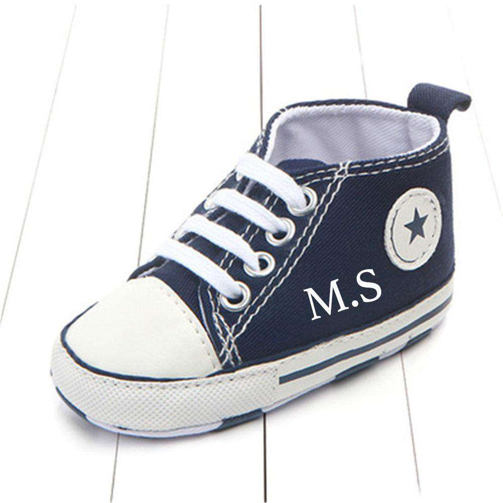 Personalised Portland Initial Star Canvas Infant Prewalker Trainers (0-18 Months) (MRK X)