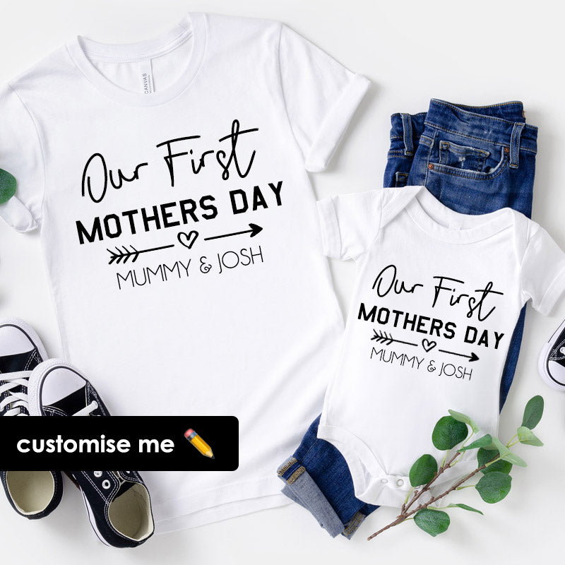 Our First Mothers Day Personalised Mum & Baby White T-Shirt & Bodysuit