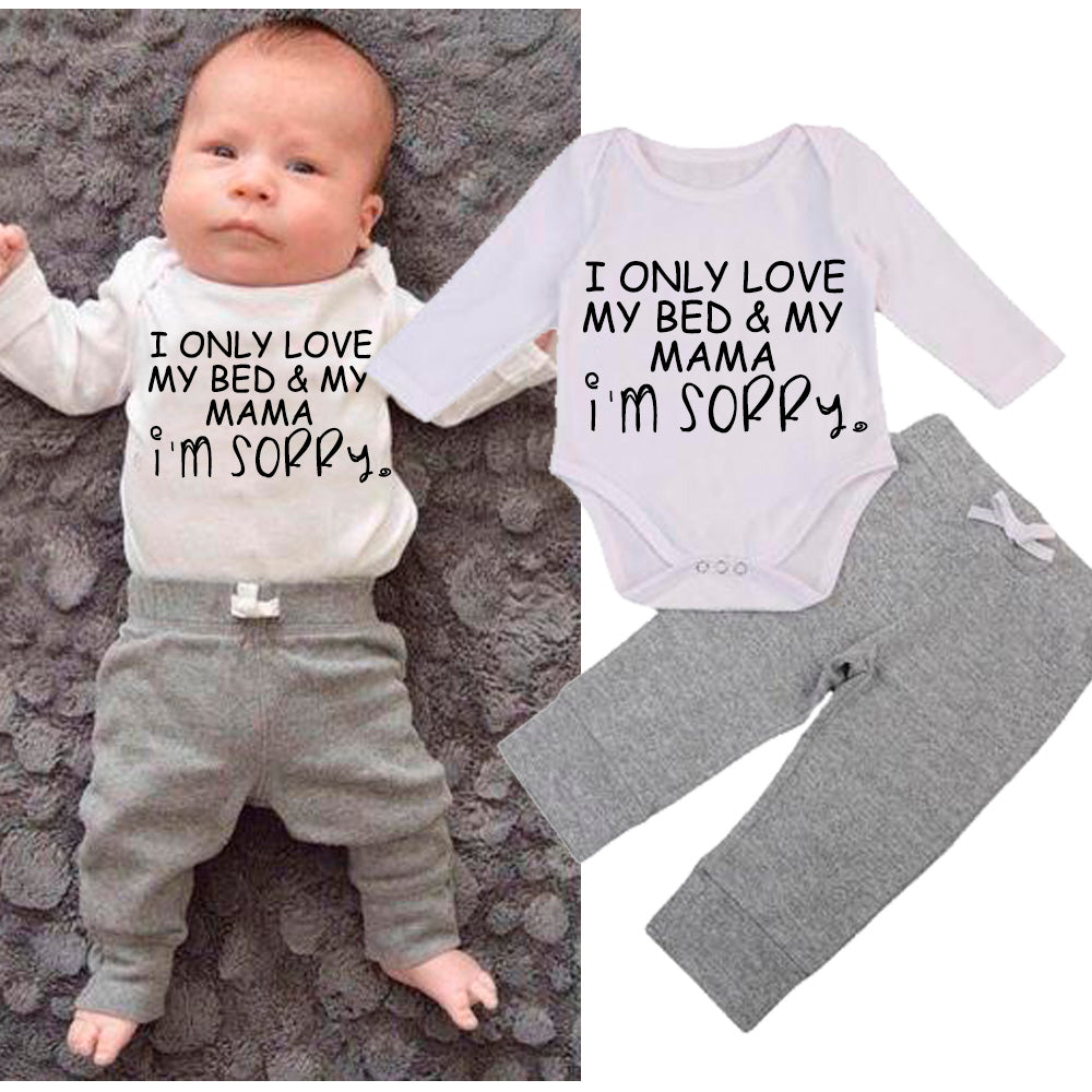 Only Love Bed & Mumma Long-Sleeved Bodysuit/Tees & Grey Jogger Sets (MRK X)
