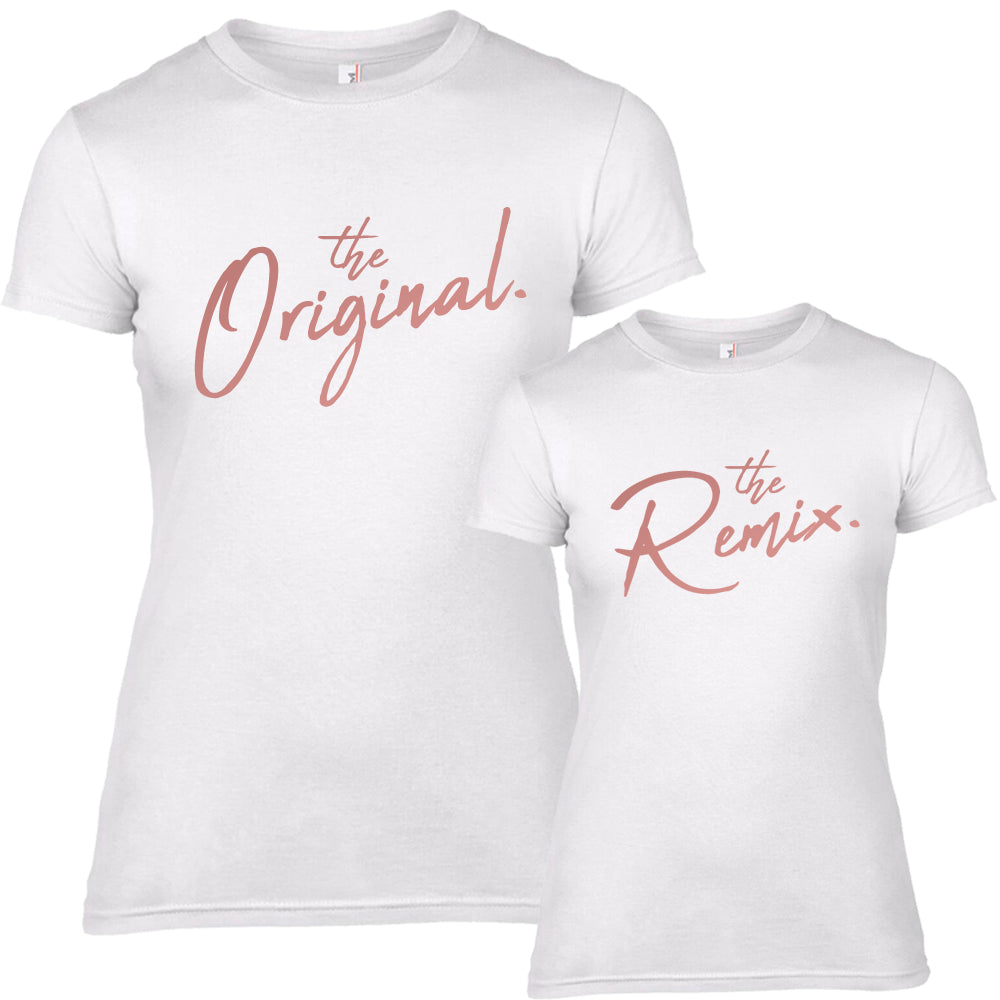 Original & Remix Script White/Rose Gold Tees (MRK X)