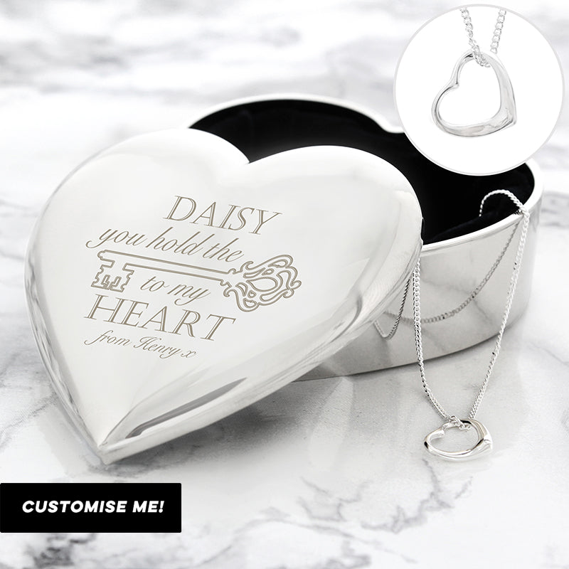 Personalised Key to My Heart Trinket Box & Necklace Set (MRK-iD)
