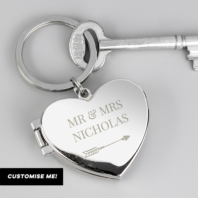Personalised Arrow Heart Photoframe Keyring (MRK-iD)