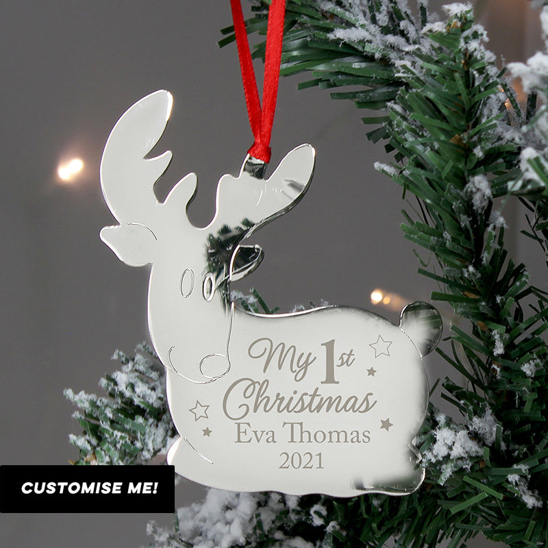 Personalised My 1st Christmas Reindeer Metal Decoration (MRK-iD)