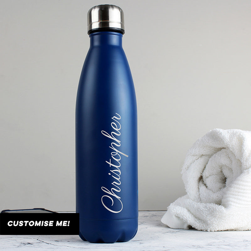 Personalised Blue Metal Insulated Drinks Bottle (MRK-iD)