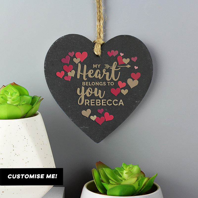 Personalised 'My Heart Belongs To You' Confetti Hearts Printed Slate Heart Decoration (MRK-iD)