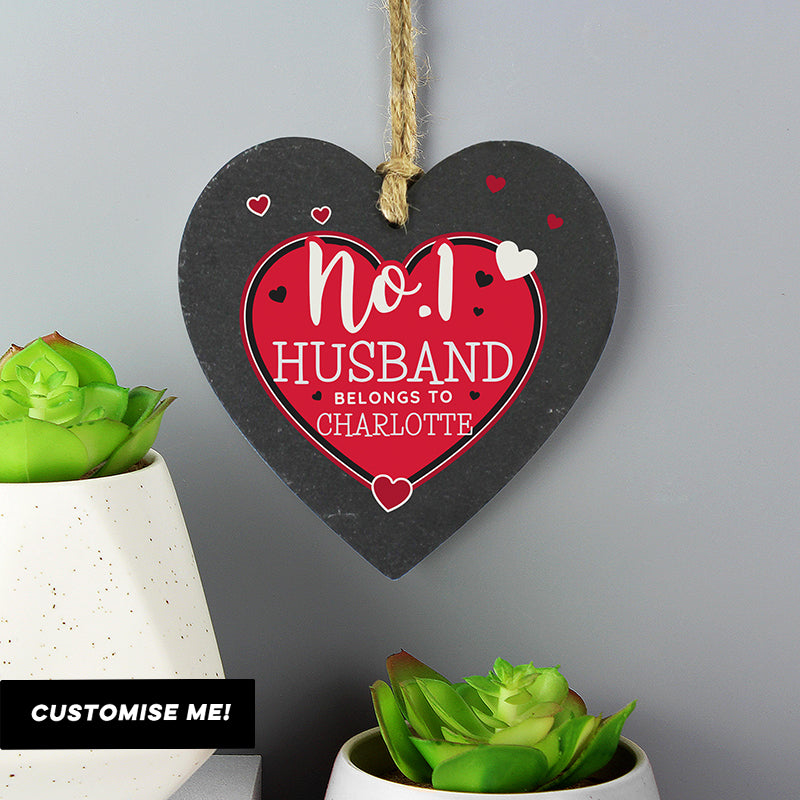 Personalised No.1 Belongs To Printed Slate Heart Decoration (MRK-iD)