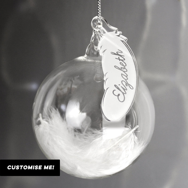 Personalised White Feather Glass Bauble (MRK-iD)